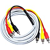 MAE 3RCA to 3RCA Composite Audio Video S. Video AV Cable 3 RCA to 3 RCA Cable for LCD LED DTH Set Top Box Projector TV (5 Mtr, Grey)