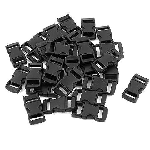sourcingmap® Plastique 10mm Courroies de sangle Boucle De Dégagement Rapide 30 Pièces Noir