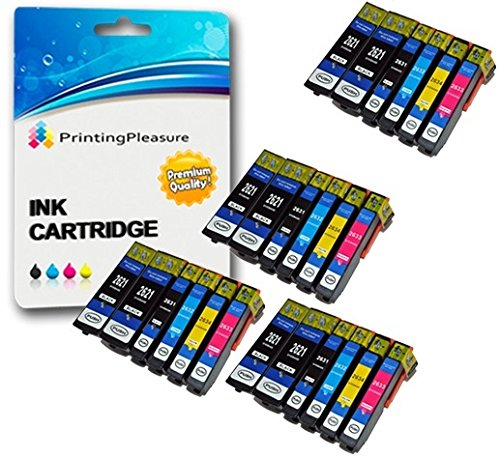24 Cartuchos de Tinta compatibles para Epson XP-510, XP-520, XP-600, XP-605, XP-610, XP-615, XP-620, XP-625, XP-700, XP-710, XP-720, XP-800, XP-810, XP-820 | 26XL T2621 T2631 T2632 T2633 T2634
