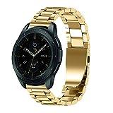 JiaMeng Diamante Pulsera de Reloj Reemplazo Banda Correa de Lujo del reemplazo de la Pulsera del Acero Inoxidable para el Reloj del Samsung Galaxy 42mm(Oro)