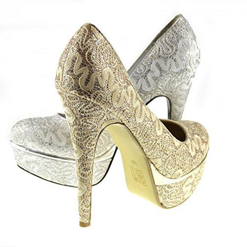 Kick Footwear - LADIES PIATTAFORMA TACCO ALTO STILETTO NASCOSTO DI NOZZE CORTE FINITURE IN ORO Oro (Dorado - dorado)
