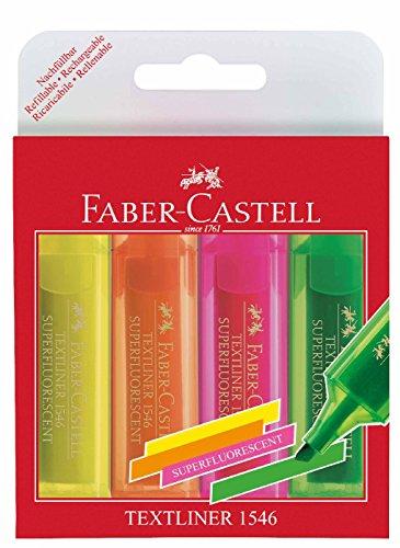 Faber-Castell 154604 – Estuche con 4 marcadores fluorescentes, varios colores