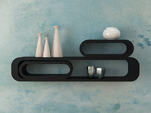 Ve.ca-italy set 3 mensole design cubi ovali colore nero