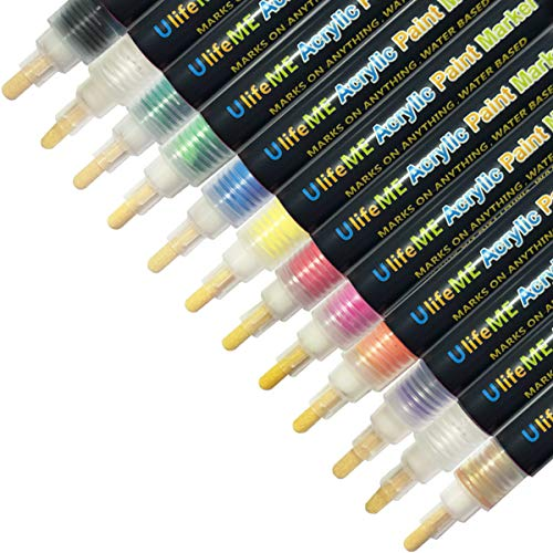 Acrylic Paint Marker Pens, UlifeME 12 Colours Permanent Paint Art Marker Pen Set for Fabric, Glass Painting, Porcelain, Graffiti, Ceramic, Stone, Wood, Metal, Rock, Canvas, Mug Design & DIY Crafts