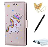 iPhone 6S Plus Handyhülle,iPhone 6 Plus Hülle,TOUCASA Geprägtes Buntes Einhorn Premium PU Leder Flip Wallet Schutzhülle Stoßfest Bumper Magnetic Case Hülle für Apple iPhone 6 Plus/iPhone 6S Plus-Gold