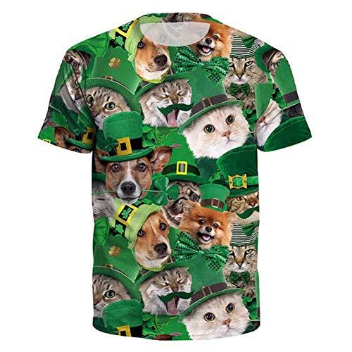 size 40 7b045 b58c9 WWDDVH Shamrock Print 3D 3D Tshirt Green Fashion Tee Shirts Manica Corta  Casual Funny Cat Tops T-Shirt da Uomo