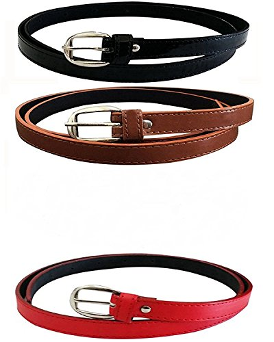 Cangol Girl's PU Leather Belts Combo of 3 (Black,Brown ,Red)(cang-56861)