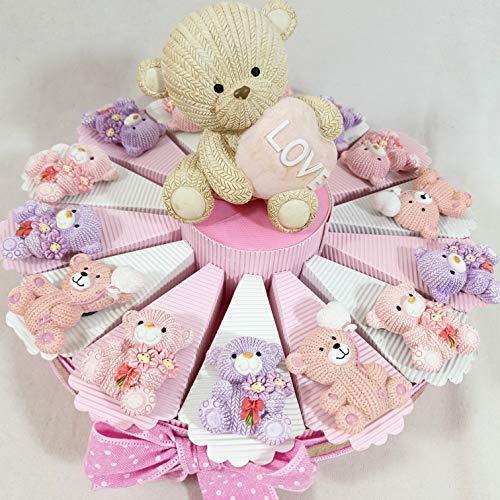 Sindy Bomboniere Regali di Nascita Bambina, Gadget per Festa di Compleanno Femmina, Orsetto Magnete Love con Confetti cioccolatini