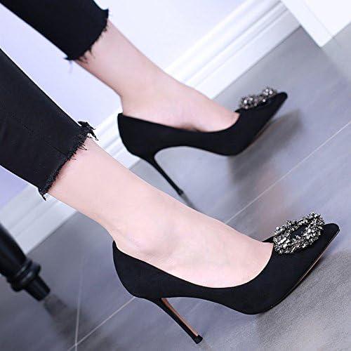 HBDLH Apuntado Solo Zapatos Primavera Poca Boca Gamuza Fino Tacón Zapatos De Mujer Sexy Diamante Calle Pat Ocupación...