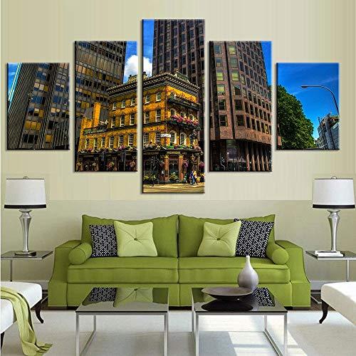 mmwin Kunstwerk Poster Leinwand 5 Stücke Gebäude HD Drucke Für Wohnzimmer Wohnkultur Cuadros Wandkunst Modulare Bilder