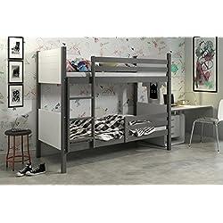 Litera 2 camas CLIR - para colchones de 200x90, madera de pino (gris)