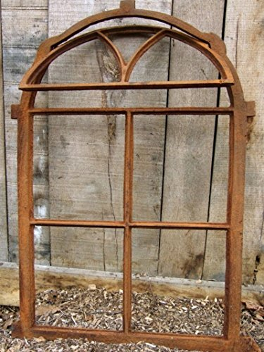 Antikas | klappbares Eisenfenster in antiken Stil | Höhe: 75 cm - Breite: 50 cm | Fenster für Stall- und Gartenmauer | Fensterrahmen aus Gusseisen