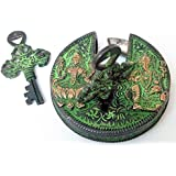 Kartique Brass antique style lock with murti of Laxmi Ganesh and beautiful engraving , auspicious gift idea