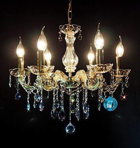 Messing, Swarovski Spectra Kristall-kronleuchter (Kristall Kronleuchter 6Flammig Ø55cm gefertig aus SPECTRA CRYSTAL von SWAROVSKI + Kerzenhülsen)