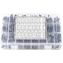 540pcs 24 Tipos Condensadores Electrolíticos de Aluminio Kit de Surtido de Condensador Electrolítico 10V-50V