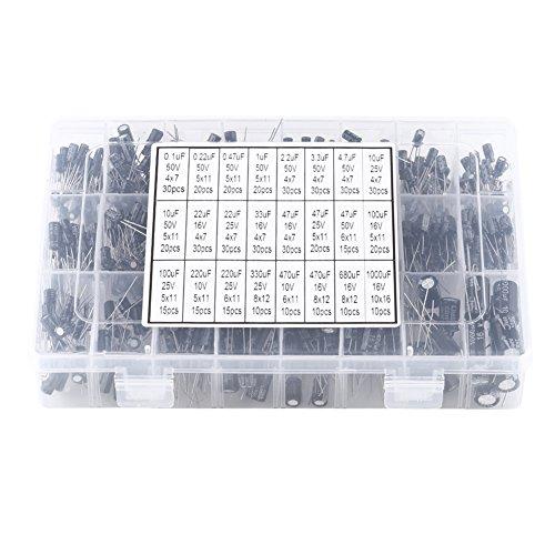 540pz 24 valori condensatori elettrolitici in alluminio comunemente usati kit di assortimento da 10v-50v 0,1uf a 1000uf con scatola di immagazzinaggio