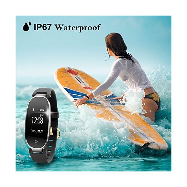 Pulsera Monitor de Actividad Pulsómetro y Podómetro para Mujeres Impermeable IP67, con Bluetooth Contador de Pasos y Monitor de Sueño para Smartphones con Android e iOS: iPhone, Samsung de WOWGO 6