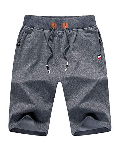 Tansozer Kurze Hose Herren Shorts Sommer Jogginghose Kurz Baumwolle Gym Sweat Shorts Herren Sport (Grau,L)