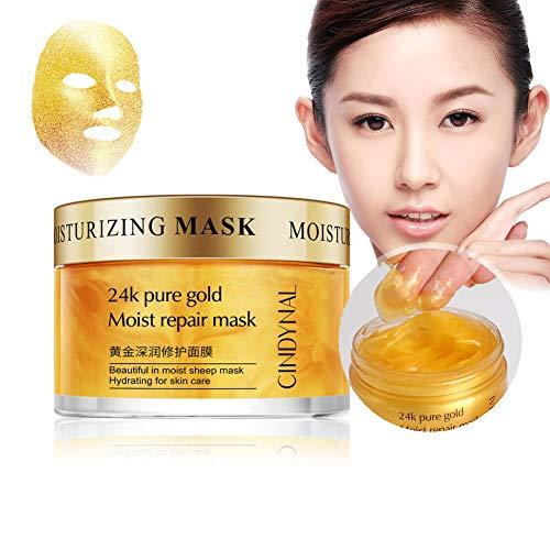 Gold Facial Sleep Mask Feuchtigkeitsspendende straffende Haut Glatte, feine Linien Schrumpfen der Poren Feuchtigkeitsspendende Goldmaske -