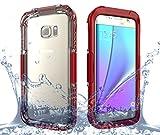 Samsung Galaxy S7 Edge Wasserfeste Hülle, IP68 Zertifiziert 360 Grad Ganzkörperabdeckung mit Anti-Kratzer eingebautem Displayschutz Stoßfest Schutzhülle Handytasche für Samsung Galaxy S7 Edge (rot)