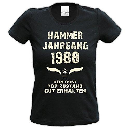 bequemes t Shirt Damen Girlie Motiv Hammer Jahrgang 1988 zum 29. Geburtstag Jahrgangs-T-Shirt Geschenk cooles Outfit Farbe: schwarz Schwarz