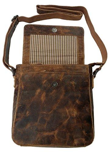 Hunt Handtasche Umhängetasche Ledertasche Messenger Bag Tasche Herren Echtes Leder OR198JBP32 (Dunkelbraun) Braun