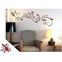 """Wandtattoo Blumen Ranke """"Miu"""" mit Schmetterlinge für Wohnzimmer Schlafzimmer Flur oder Diele (jap29g dunkelrot) 150 x 40 cm mit Farb- u. Größenauswahl"""