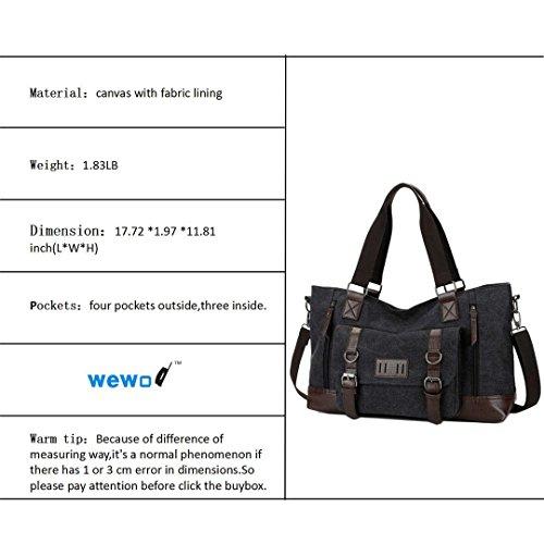 Wewod ad alta capacità borsa a tracolla per maschio Stile Valigetta per Uomo Tela Materiale con alcuni in vera pelle vintage design, Khaki (multicolore) - ST1324 Black