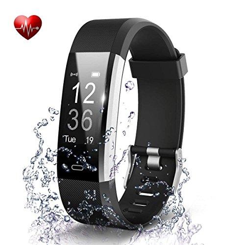 Antimi Fitness Armband, Fitness Trackers Pulsuhren Schrittzähler für iPhone Android Handy (Schwarz)