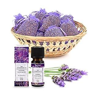 Pajoma 10 Lavendelsäckchen Lavendelbeutel Sachets Plus wahlweise mit Duftöl Raumduft oder Kerzen (Duftöl Set)