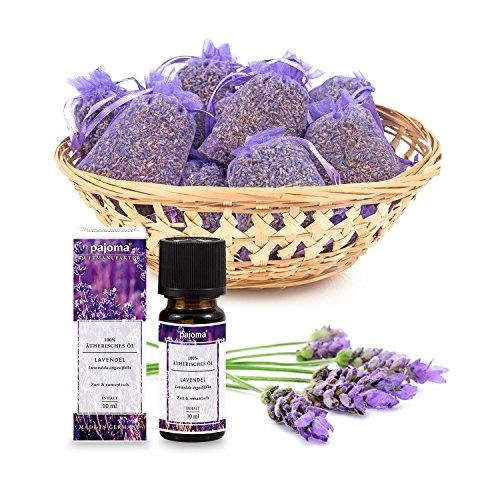 Pajoma 10 Lavendelsäckchen Plus 100% naturreines ätherisches Lavendel Öl aus Frankreich Lavendelbeutel Sachets