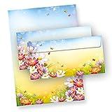 Briefpapier Set Florentina Blumen 10+10 Briefpapiere+Umschläge bunt Motiv-Papier