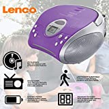 Lenco SCD-24 Portable Stereo Boombox with Programmable CD Player & FM Radio - Purple