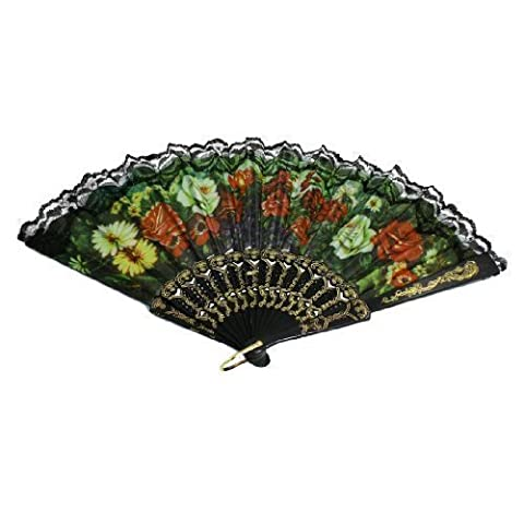 sourcingmap® Colorful Floral Fabric Section Plastic Ribs Lace Decor Folding Hand Fan Black