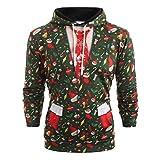 Weihnachtspullover Herren, Holeider Pullover Herren Winter Hoodie Langarm Weihnachten 3D gedruckt Lässig Sweatshirts Kapuzenpullover Kapuzenpulli Kapuzenjacke,