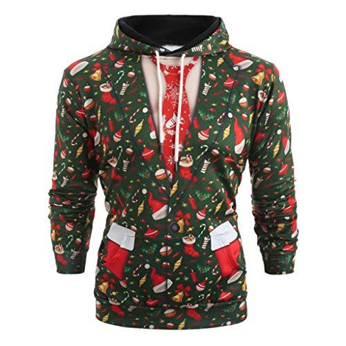 Auied Herren Pullover Weihnachtsanzug Muster 3D Print Langarm Hoodie Caps Sweatshirt