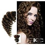 Micro ring Haarverlängerung Gelockt N 6(Kastanie) 100% natürliche Haar Stick Spitze 45,7cm...