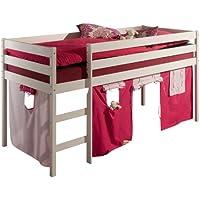 Hochbett Spielbett ERIK weiß inkl. Vorhang rosa/pink preisvergleich bei kinderzimmerdekopreise.eu