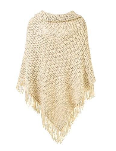 Ferand Poncho-Schal in lässiger Passform mit stylischen Hornknöpfen, V-Ausschnitt und V-Saum für Frauen Beige (Größeres Modell)