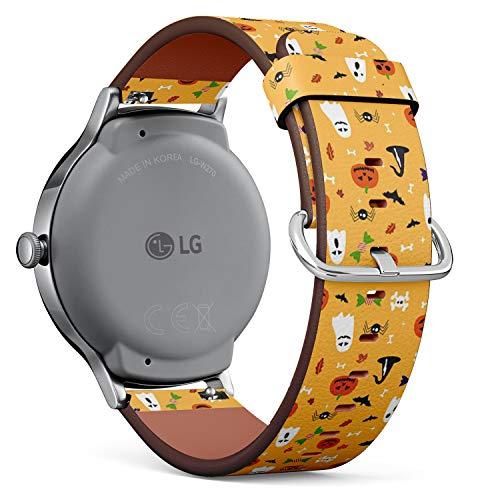mit für LG Watch Style - Leder-Armband Uhrenarmband Ersatzarmbänder mit Schnellverschluss (Halloween-Postkarte) ()
