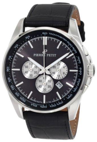 Pierre Petit - P-786A - Montre Homme - Quartz Chronographe - Chronomètre - Bracelet Cuir Noir
