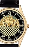 Masonic Freemasonry Large 44 mm Vintage Chequered Temple of Solomon Art 24k Gold-Plated Wrist Watch