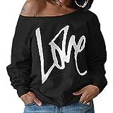 ZIOOER Damen Pulli Eine Seite Schulterfrei Love Langarm T-Shirt Rundhals Ausschnitt Lose Bluse Hemd Pullover Oversize Sweatshirt Oberteil Tops Schwarz L