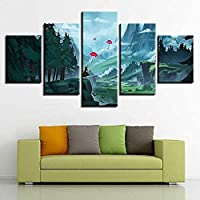JWLSDT 5 Canvas Paintings Umbrella Forest Mountain Landscape Pictures Printing Decoration Living Room Wall Hd Poster Framed