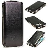 Original Tabker® Fashion Flip Samsung Galaxy S6 Edge Flip Tasche Cover Schutz Hülle Case Schale Etui Schwarz