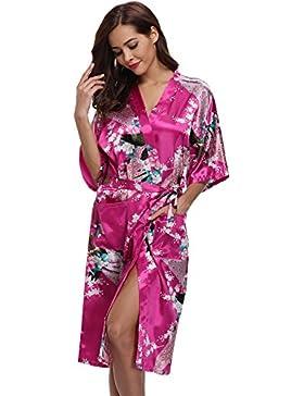 Aibrou Donna Vestaglie Lungo Scollo a V Kimono Corto da Notte in Raso Con Cintura, Pavone Esotici, Raso Fiore....