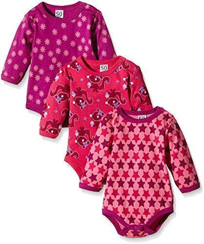 Care Baby - Mädchen Langarm-Body im 3er Pack, All over print, Gr. 62, Rosa (Pink 569)