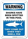 GFGKKGJFD Warnschild Warning Sharks Have Been Spotted In This Pool - Pool Rules for Pool Owners – 20,3 x 30,5 cm Metallschild Aluminium Schilder