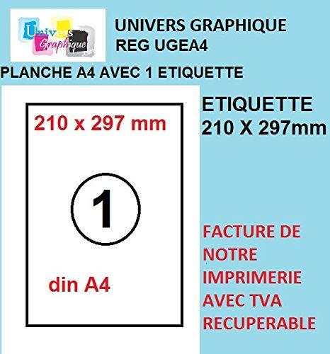 100 fogli A4 1 adesivo 210 x 297 mm carta per etichette adesive per stampanti a getto d'inchiostro e laser