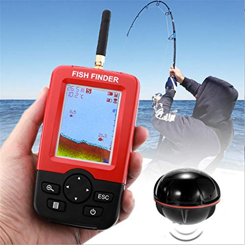 Finebuying Wireless Fischfinder Farbe Tragbarer Angeln Sonar Sensor Verkabelt LCD Tiefe Finder Echolot Fisch-Finder Frisches Wasser Salzwasser Elektroboot Angeln Tiefenortung Tracker (Rot) Tiefe Finder
